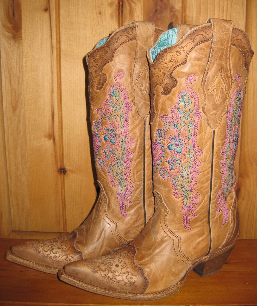 Corral Pink Heart Lace Boots