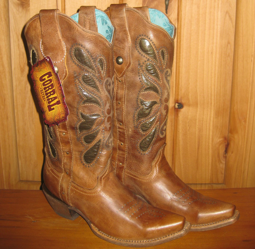 Corral Cognac Butterfly Laser Boots Picture