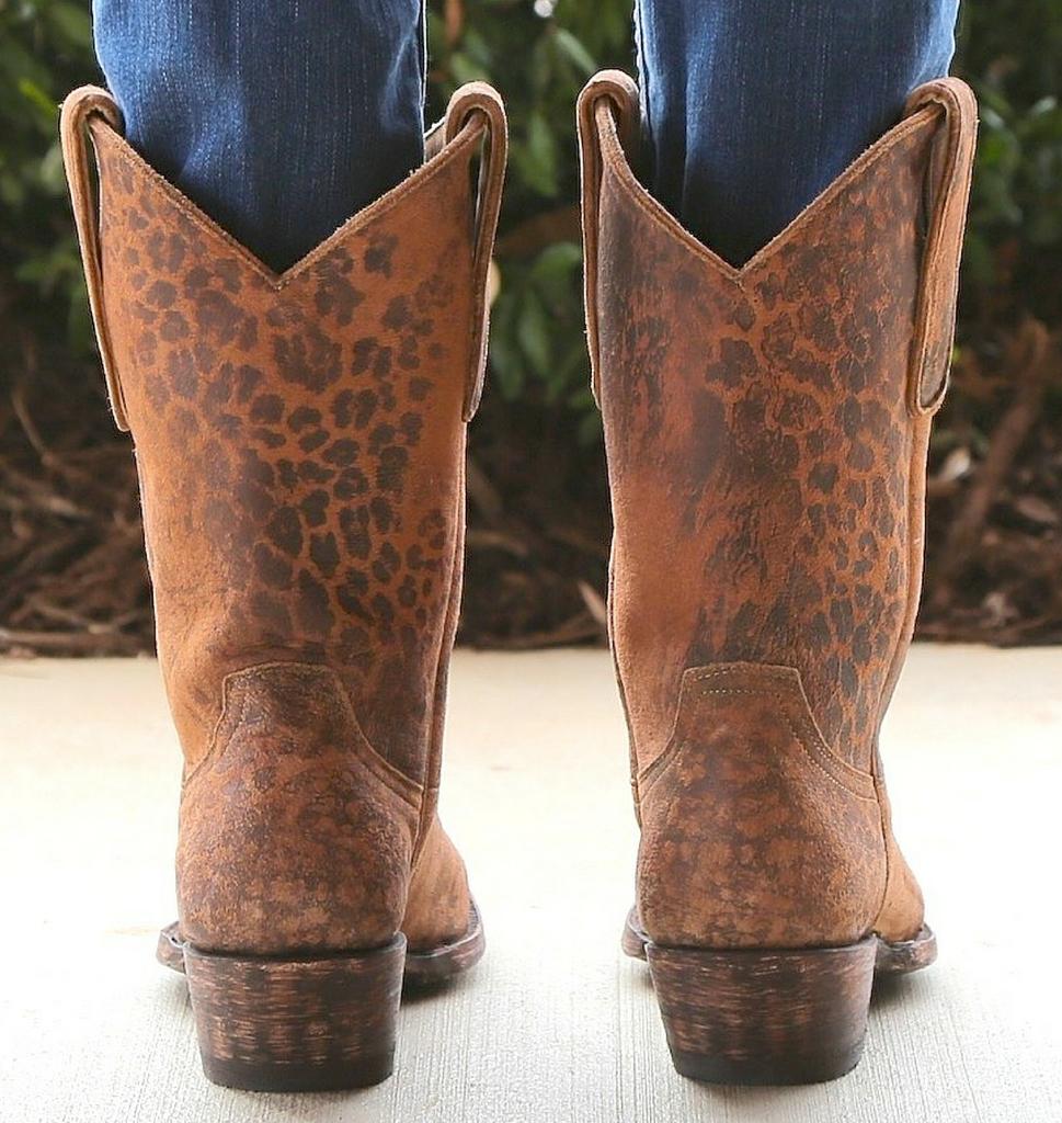 "Old Gringo Leopardito Ocre Short Boots L168-1 10"" Back"