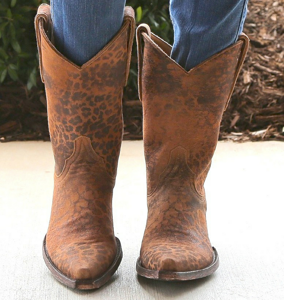 """Old Gringo Leopardito Ocre Short Boots L168-1 10"""" Front"""