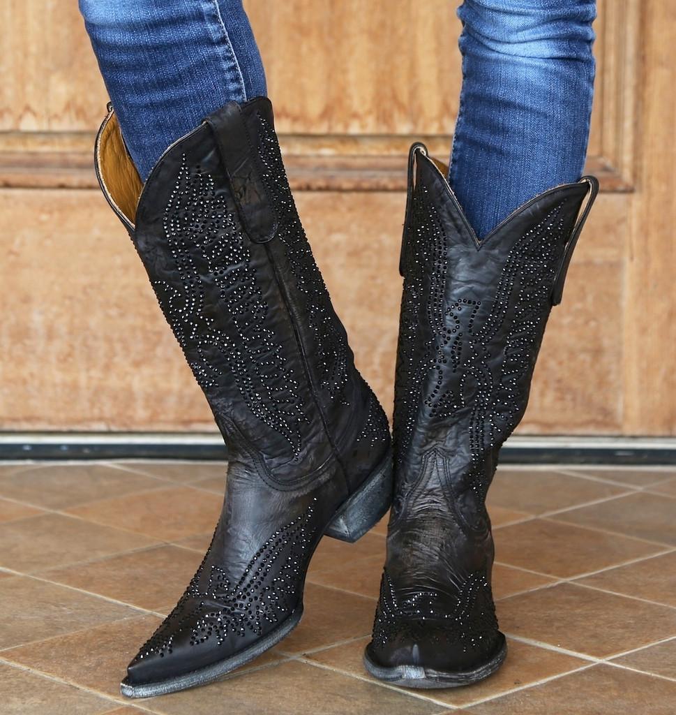 Old Gringo Eagle Crystal Swarovski Black Boots L443-4
