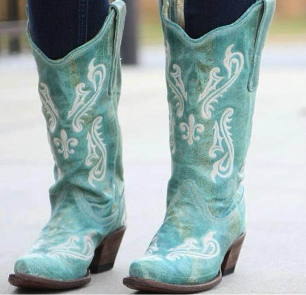 Corral Turquoise Blue Cortez Boots R1973 Picture