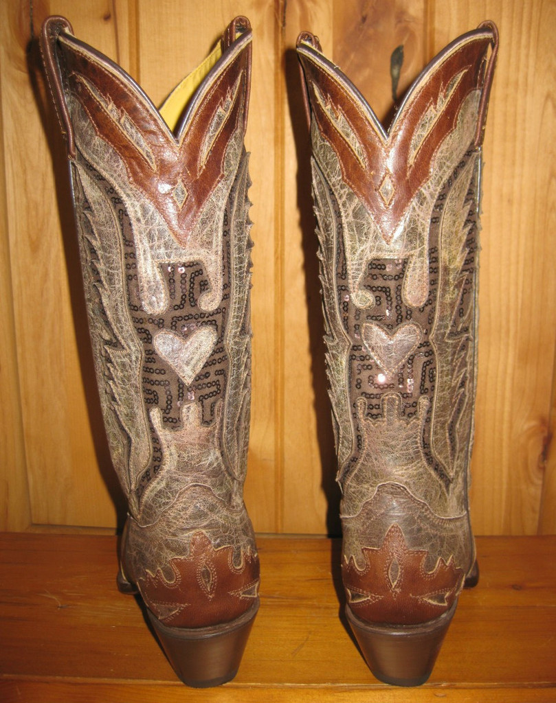 Corral Brown Eagle Sequin Boots R1111