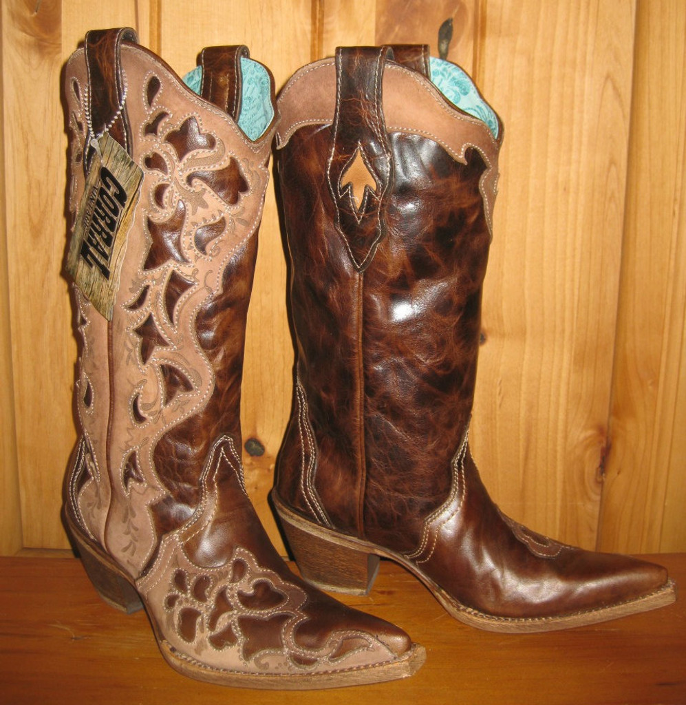 Corral Chocolate Tooled Laser Boots C1933