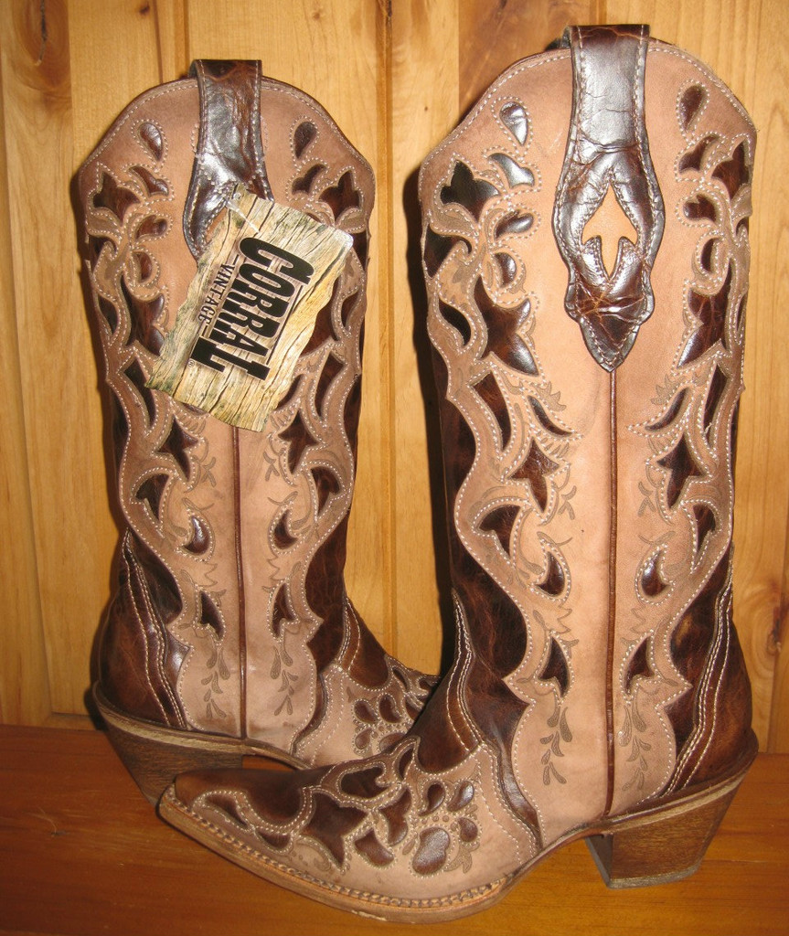 Corral Chocolate Tooled Laser Boots C1933 Picture