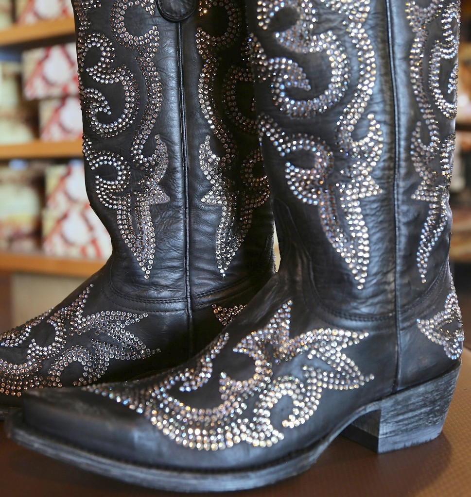 Old Gringo Diego Crystal Black Boots L1202-2 Inside Sparkle