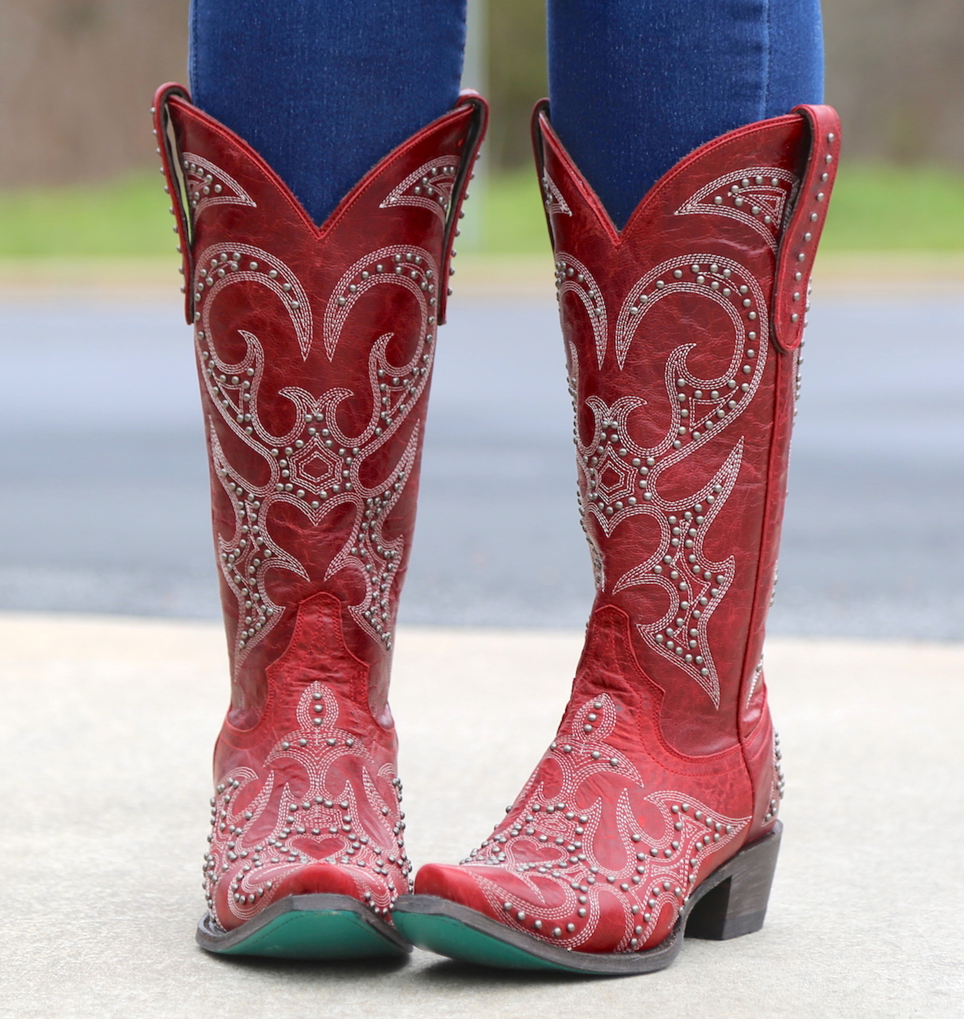 9f060e26657 Lane Lovesick Stud Red LB0199C Cowgirl Boots