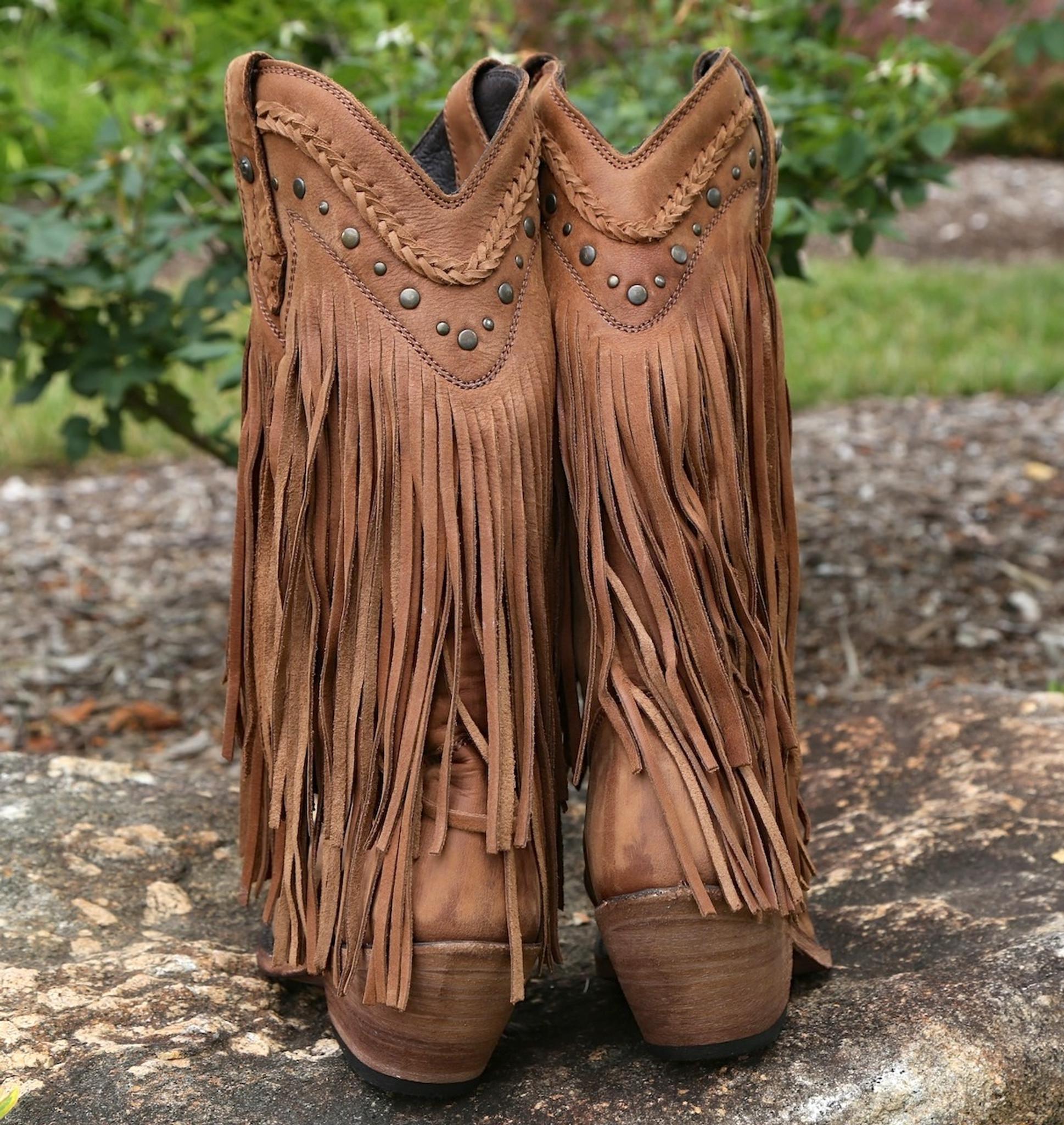 liberty black fringe boots