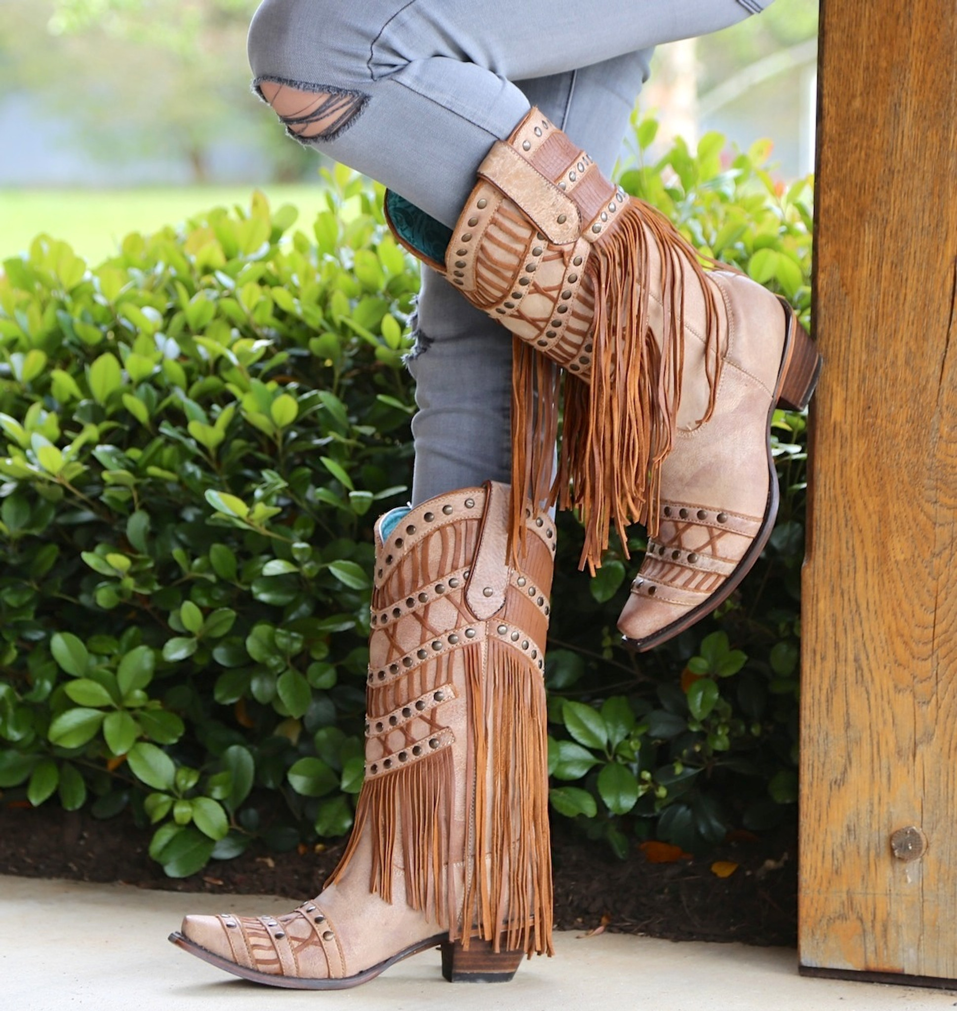 5b335db0048 Corral Tan Fringed Layers And Studs C2988