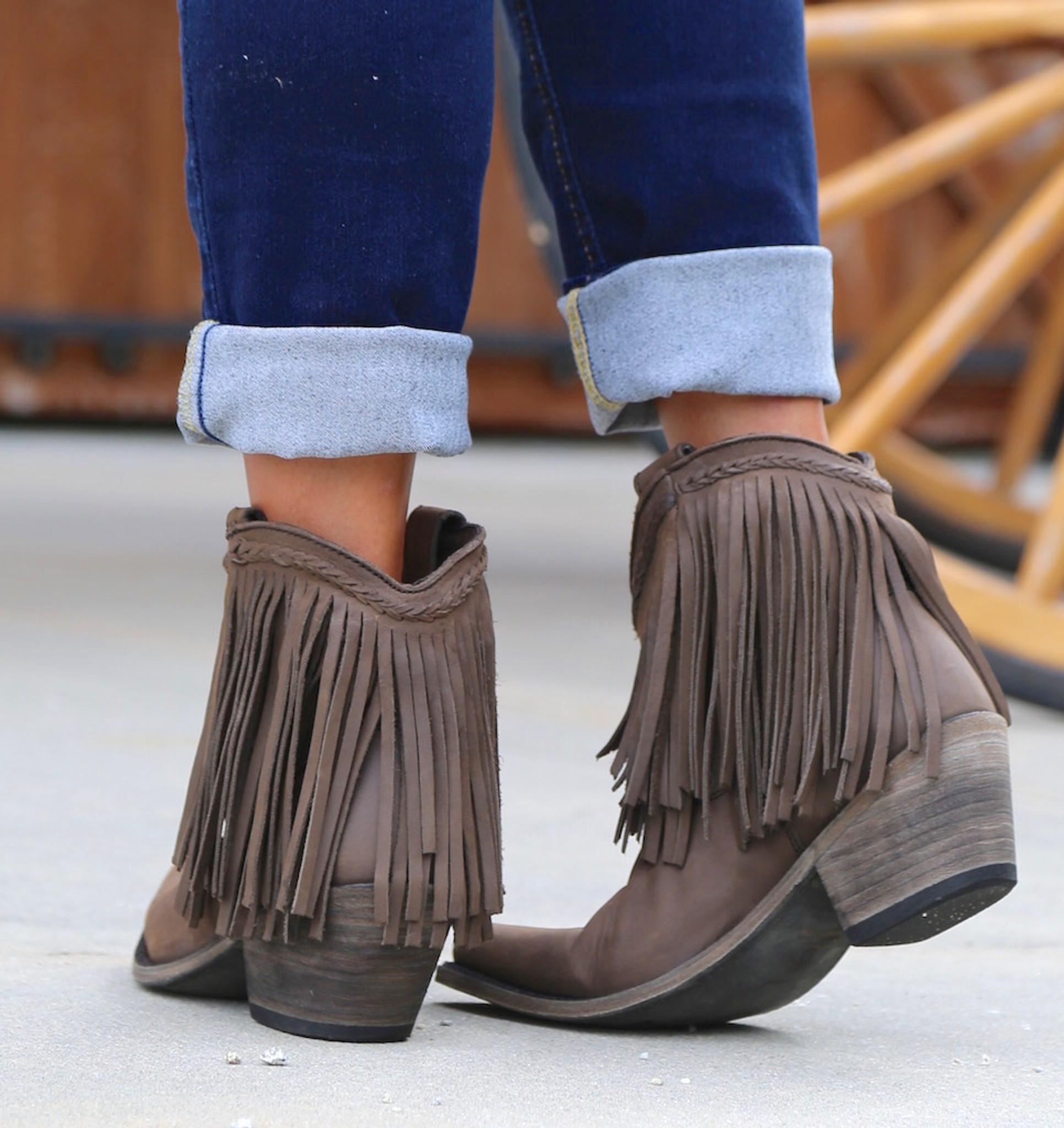 Liberty Black Short Fringe Boots Smog