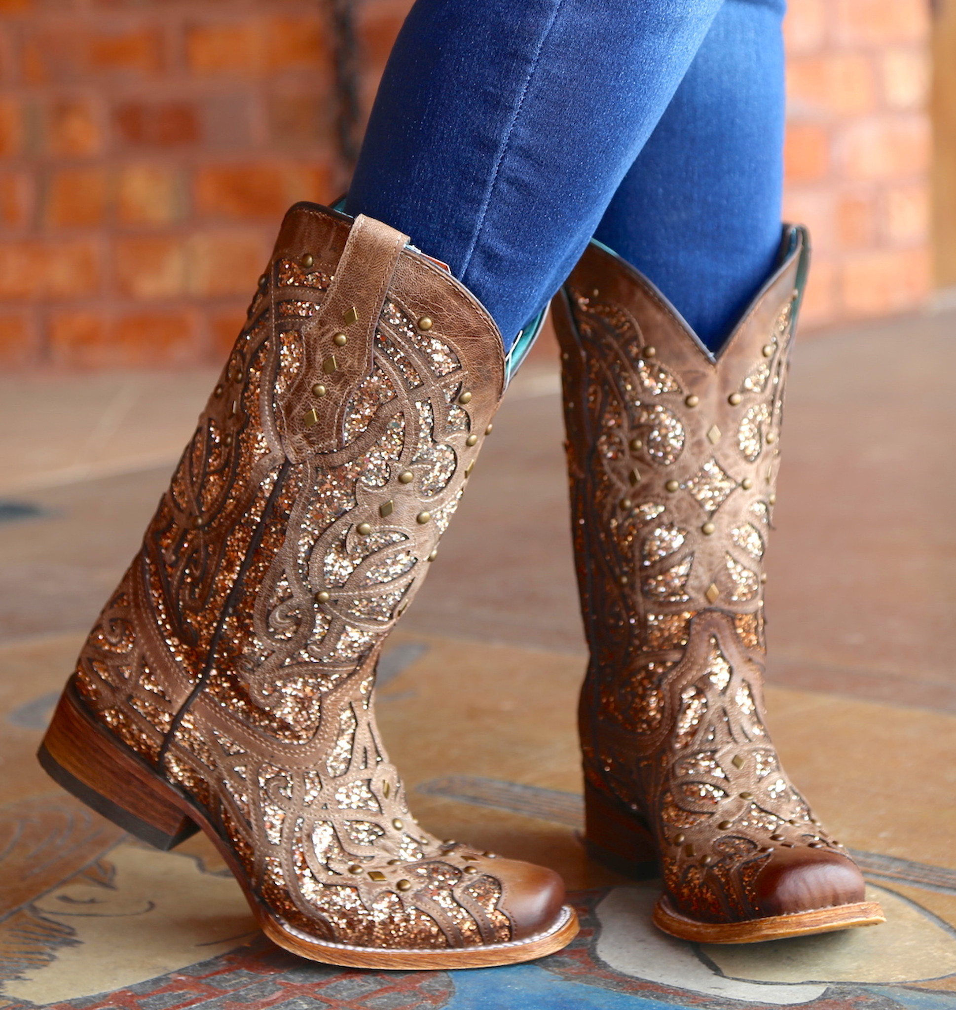 12f310cc472 ... Corral Orix Glittered Inlay and Studs Square Toe Boots C3275 Heel. Corral  Boots