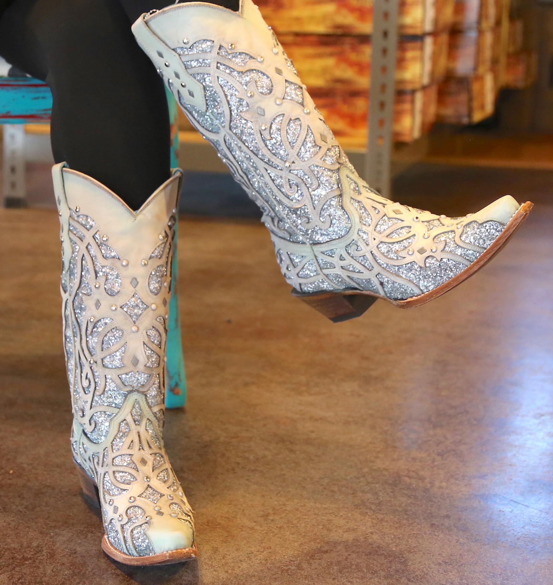 silver sequin cowboy boots