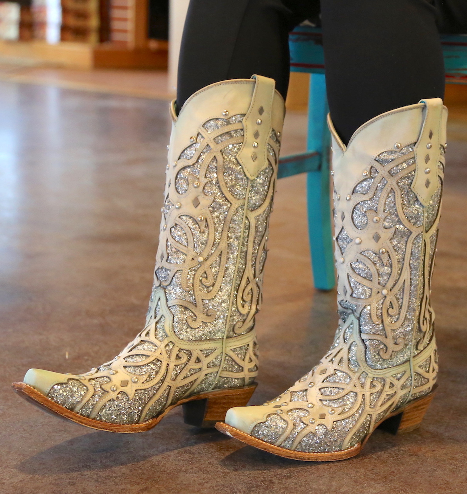 258943ad6f1 Corral white turquoise glitter chameleon boot indoor photo toe JPG  1211x1280 White sparkly cowgirl boots