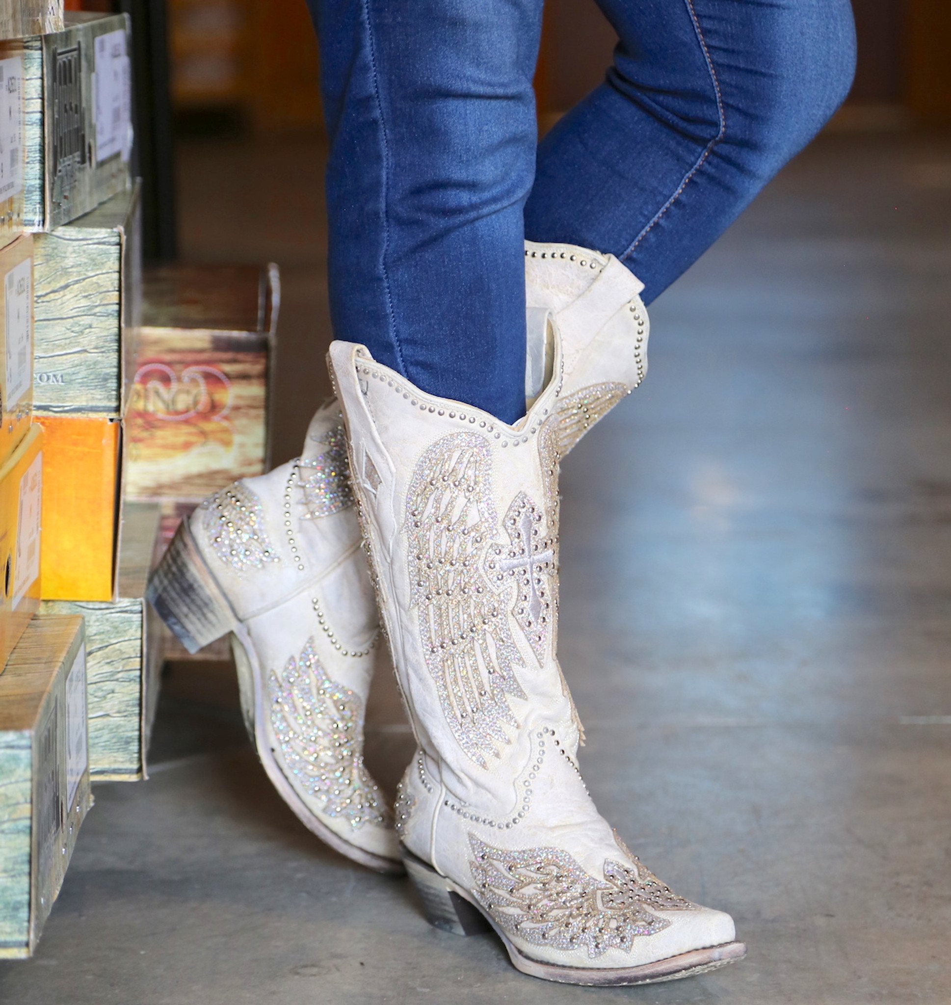5189518aaa0 Corral Glitter Cross and Wings White Boots A3571 Picture