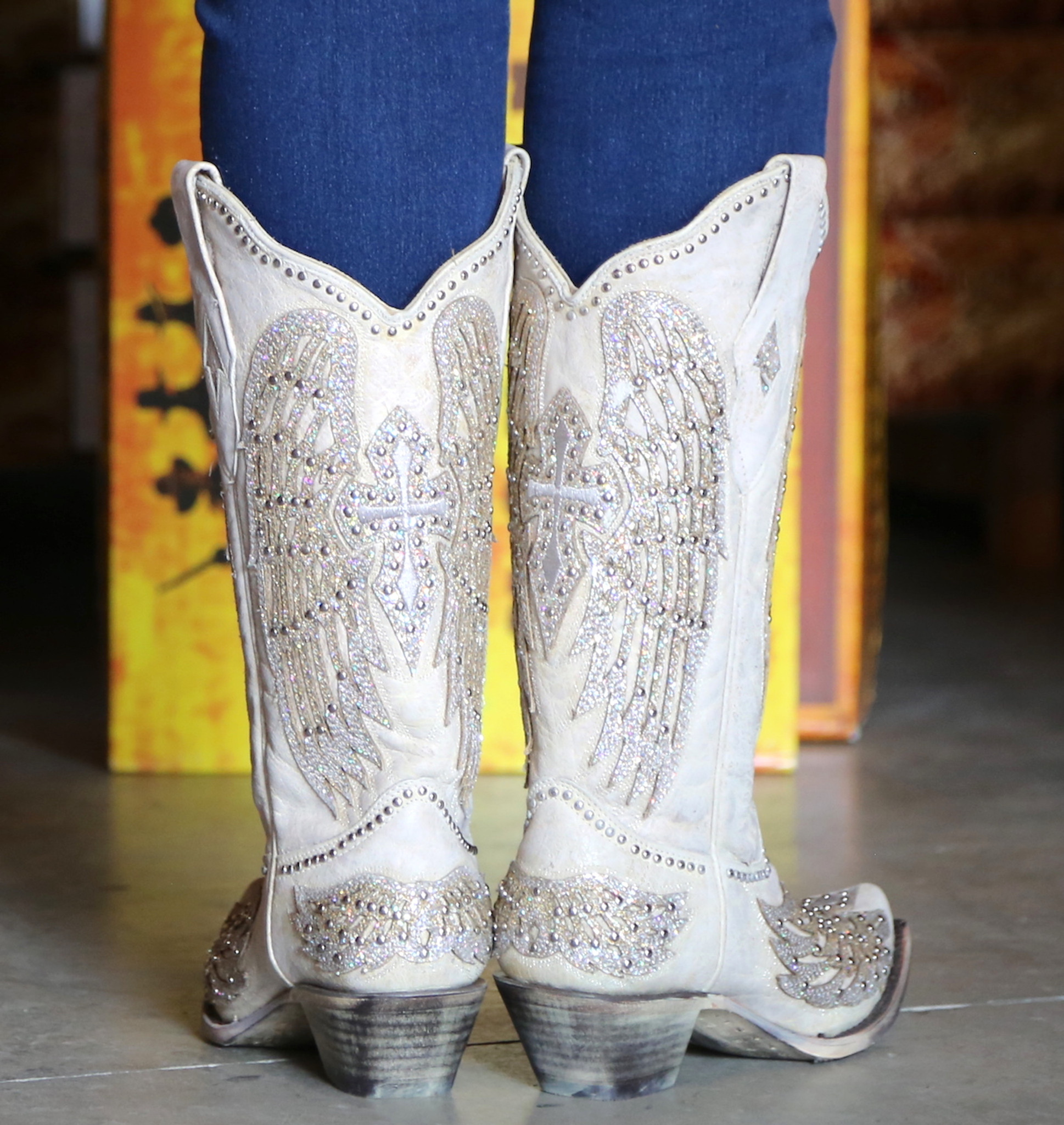 8848dc27664 Corral Glitter Cross and Wings White A3571 Cowgirl Boots