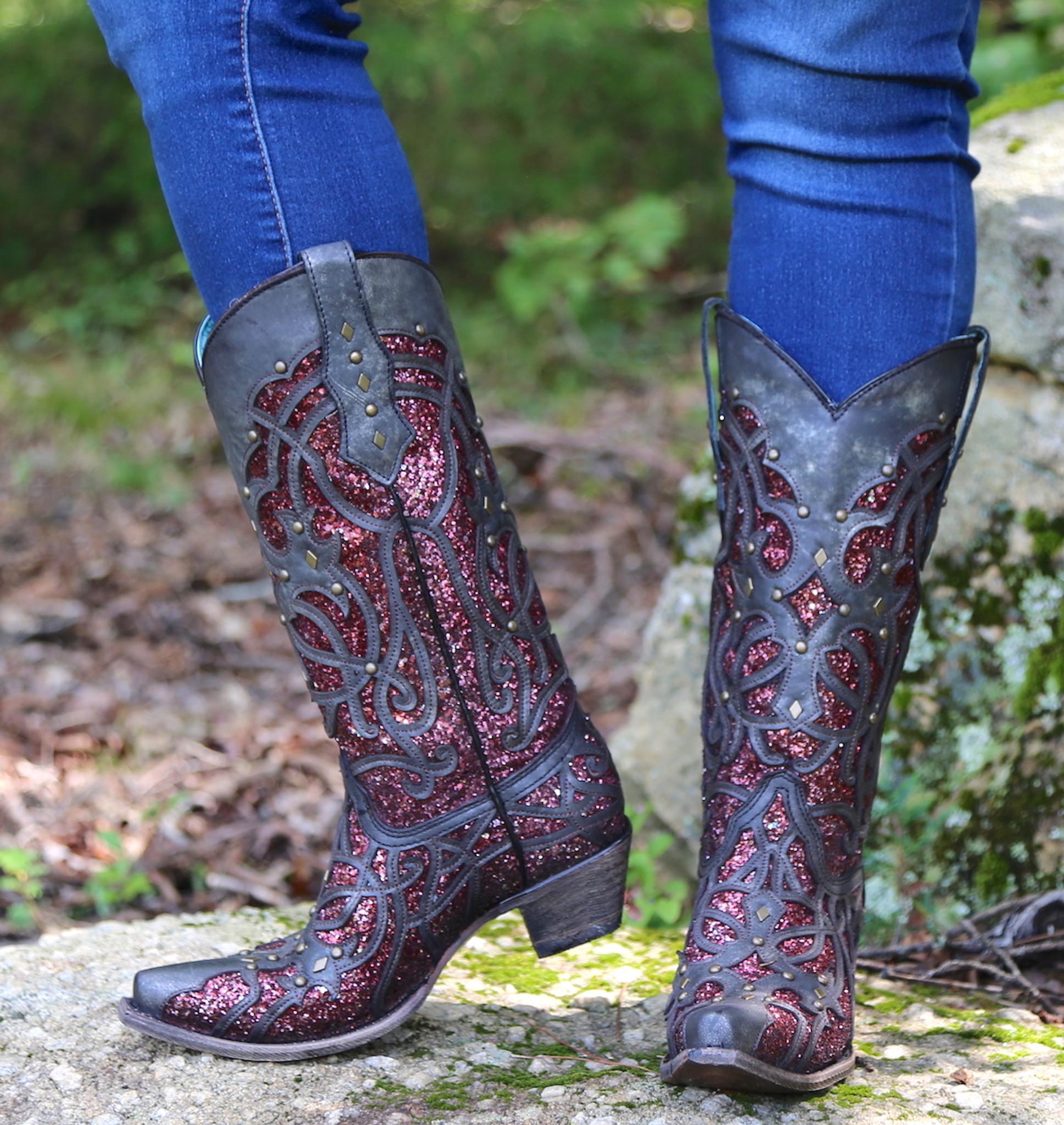 d4ea7b1efe73 Corral Black Plum Glitter Inlay and Studs Snip Toe Boots C3406 Photo