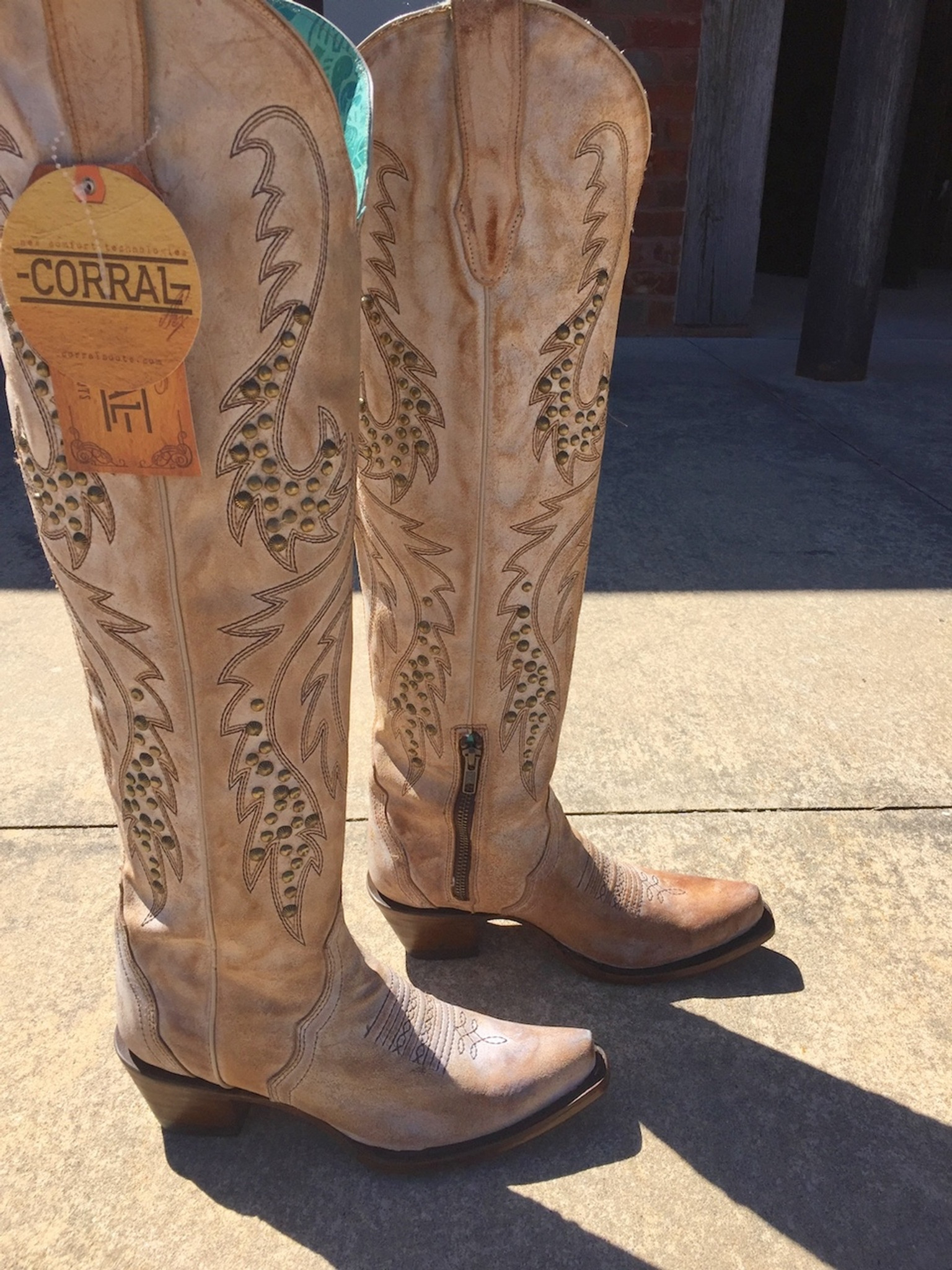 c83b542c Corral Saddle Embroidery and Studs Tall Top Boots C3543 Picture