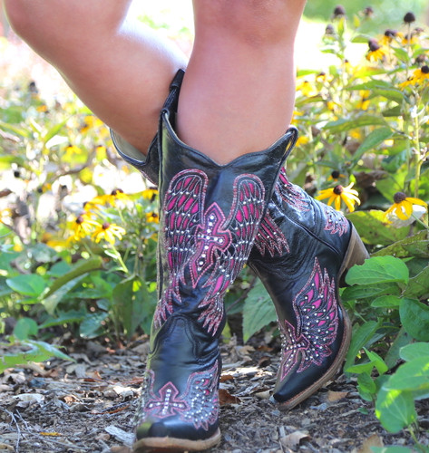 Corral Black Pink Wing & Cross Boots A1049 Image