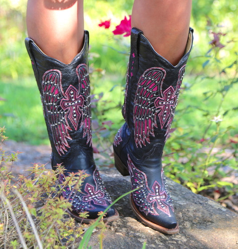 Corral Black Pink Wing & Cross Boots A1049 Picture