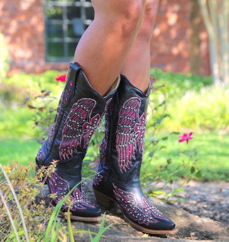 Corral Black Pink Wing & Cross Boots A1049 Walk