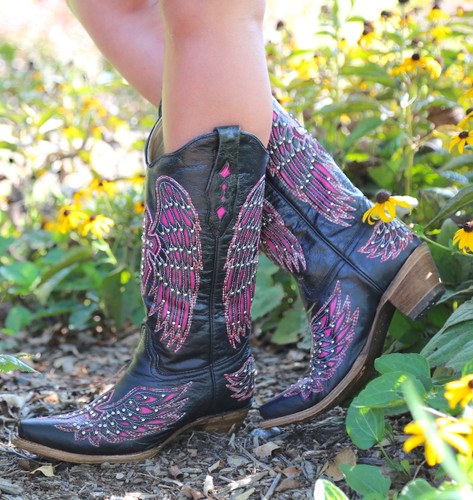 Corral Black Pink Wing & Cross Boots A1049 Side