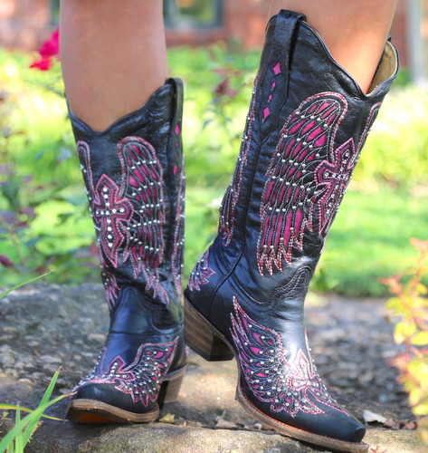Corral Black Pink Wing & Cross Boots A1049 Toe