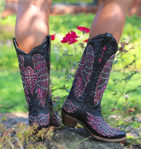 Corral Black Pink Wing & Cross Boots A1049 Heel