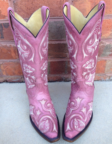 Corral Pink Floral Full Stitch Cowgirl Boots G1087