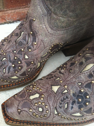 Corral Brown Crater Bone Inlay & Studs A1098 Cowgirl Boots