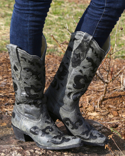 Corral Black Sequence Inlay Boots A1065 Image