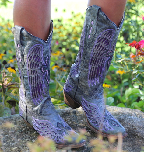 Corral Black Purple Wing Cross Boots A1969 Image