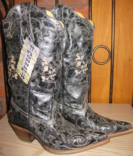 Corral Boots Black Lizard Overlay Right Picture