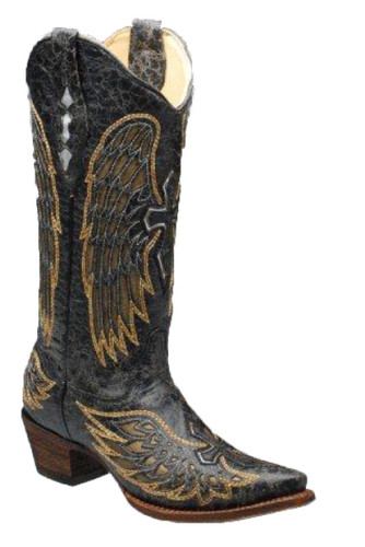 Corral Black/Gold/Silver Wings And Cross Boots A1967 Picture