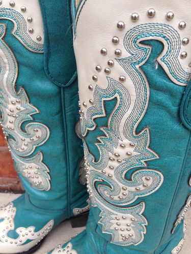 Corral Turquoise Cream Studs Boots