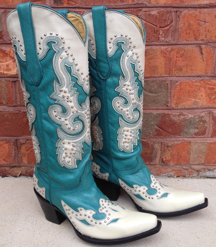 Corral Turquoise Cream Studs Boots A1188