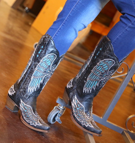 Corral Black-Turquoise Wing and Cross Crystals Boots A1048 Photo