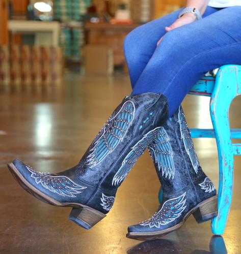 Corral Black-Turquoise Wing and Cross Crystals Boots A1048 Picture