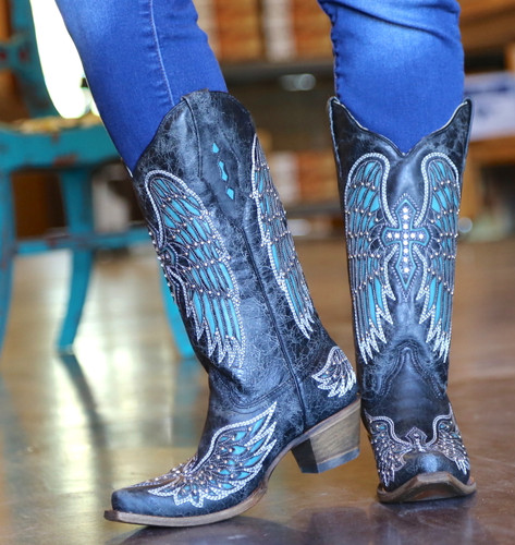 Corral Black-Turquoise Wing and Cross Crystals Boots A1048 Heel