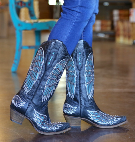 Corral Black-Turquoise Wing and Cross Crystals Boots A1048 Walk