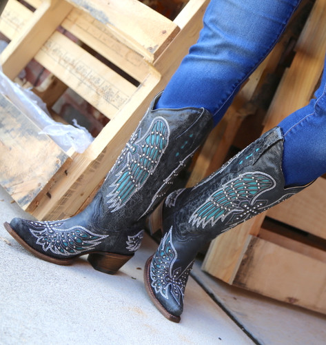 Corral Black-Turquoise Wing and Cross Crystals Boots A1048 Toe