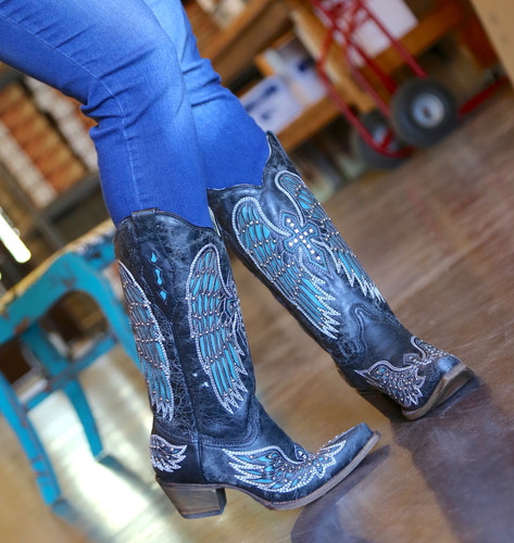 Corral Black-Turquoise Wing and Cross Crystals Boots A1048 Image
