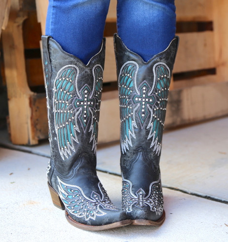 Corral Black-Turquoise Wing and Cross Crystals Boots A1048 Front