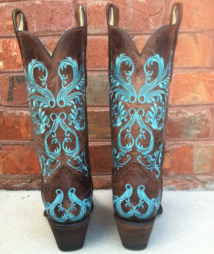 Corral Brown/Turquoise Dahlia Embroidery Cowgirl Boots R1193
