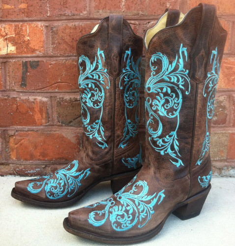 Corral Brown/Turquoise Dahlia Embroidery Boots R1193