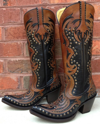 Corral Black/Cognac Laser Tall Inlay and Studs Boot G1072