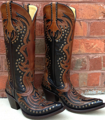 Corral Black/Cognac Laser Tall Inlay and Studs Boots G1072
