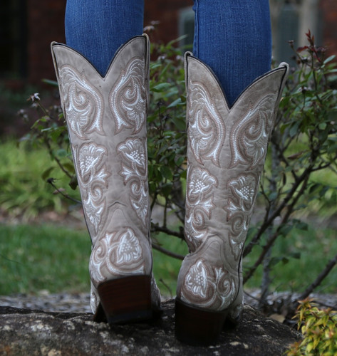 Corral Bone Floral Full Stitch Boots G1086 Heel