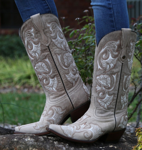 Corral Bone Floral Full Stitch Boots G1086 Image