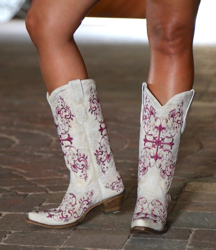 Corral Bone/Metallic Wine Floral Cross Boots A2631 Front
