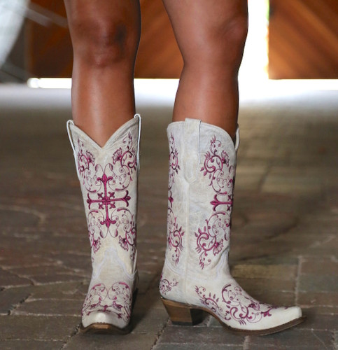 Corral Bone/Metallic Wine Floral Cross Boots A2631 Photo
